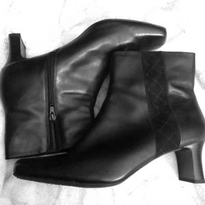 "Size 11 Black Leather Clarks 2"" Heel Ankle Boots"